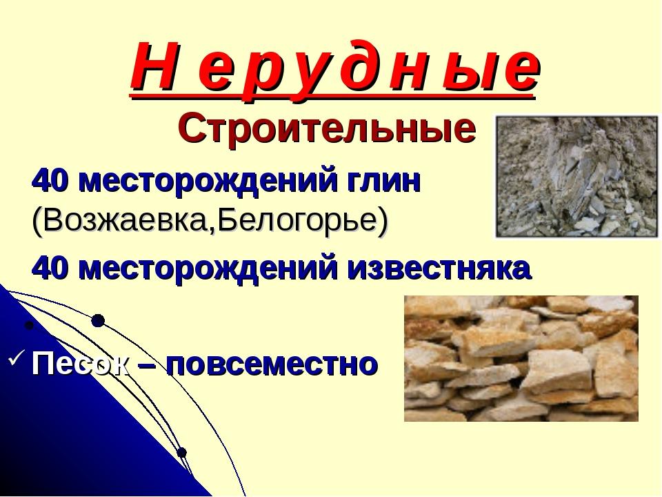 Н е р у д н ы е Строительные 40 месторождений глин (Возжаевка,Белогорье) 40 м...