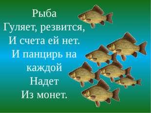 Рыба Гуляет, резвится, И счета ей нет. И панцирь на каждой Надет Из монет.