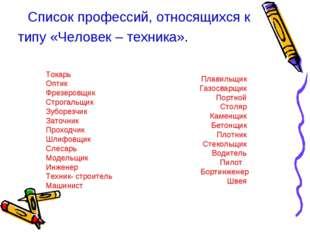 Список профессий, относящихся к типу «Человек – техника». Токарь Оптик Фрезер
