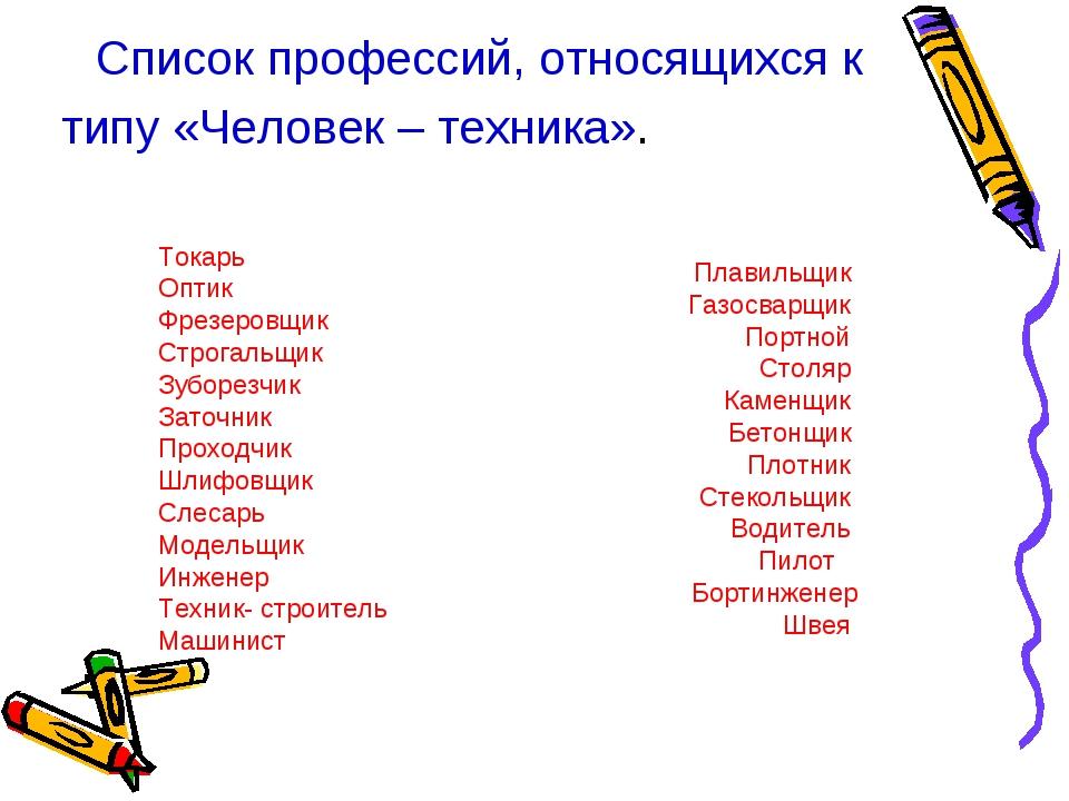Список профессий, относящихся к типу «Человек – техника». Токарь Оптик Фрезер...