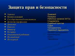 Защита прав и безопасности Адвокат Военнослужащий Государственный исполнитель
