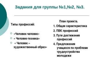 Задания для группы №1,№2, №3. Типы профессий: «Человек-человек» « Человек-тех
