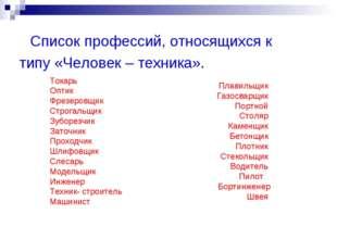 Список профессий, относящихся к типу «Человек – техника». Токарь Оптик Фрезе