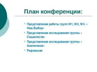 План конференции: Представление работы групп №1, №2, №3. « Наш Выбор» Предст
