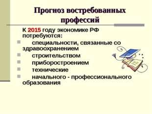 Прогноз востребованных профессий К 2015 году экономике РФ потребуются: спец