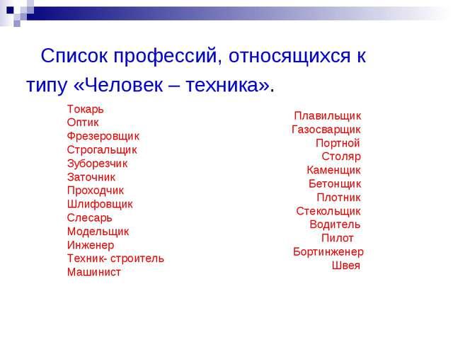 Список профессий, относящихся к типу «Человек – техника». Токарь Оптик Фрезе...