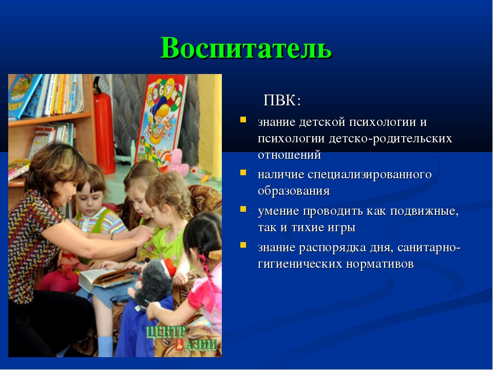 Воспитатель ПВК: знание детской психологии и психологии детско-родительских о...