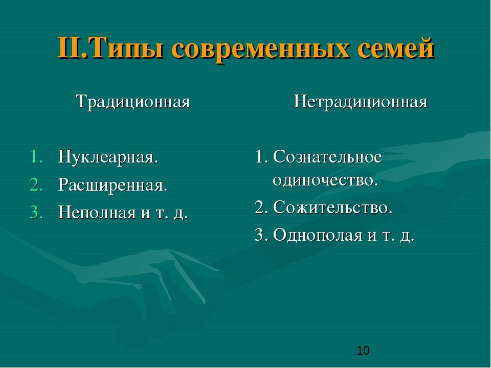 II.Типы современных семей Традиционная Нуклеарная. Расширенная. Неполная и т....