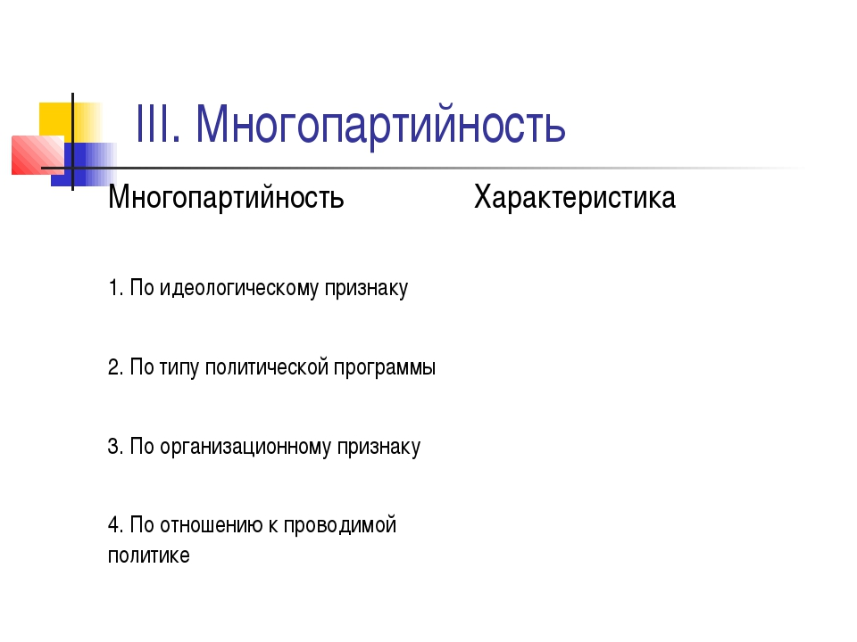 III. Многопартийность