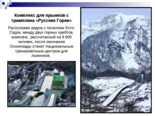 Комплекс для прыжков с трамплина «Русские Горки» Расположен рядом с поселком