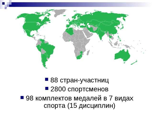 88 стран-участниц 2800 спортсменов 98 комплектов медалей в 7 видах спорта (15...