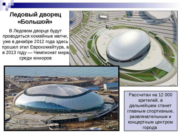 Ледовый дворец «Большой» В Ледовом дворце будут проводиться хоккейные матчи,...