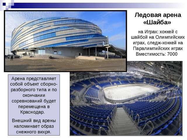 Ледовая арена «Шайба» на Играх: хоккей с шайбой на Олимпийских играх, следж-х...