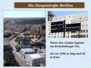 Unter den Linden beginnt am Brandenburger Tor. Sie ist 1390 m lang und 60 m b