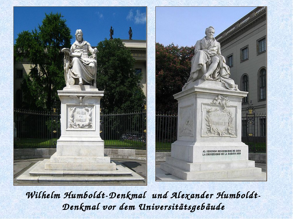 Wilhelm Humboldt-Denkmal und Alexander Humboldt-Denkmal vor dem Universitätsg...