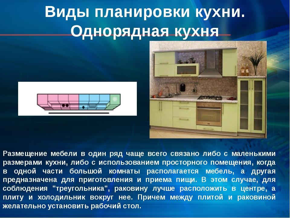 Размещение мебели в один ряд чаще всего связано либо с маленькими размерами...