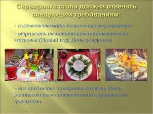 - соответствовать назначению мероприятия - отражать тематическую направленнос