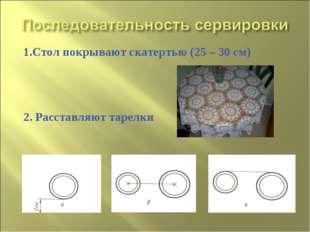 1.Стол покрывают скатертью (25 – 30 см) 2. Расставляют тарелки