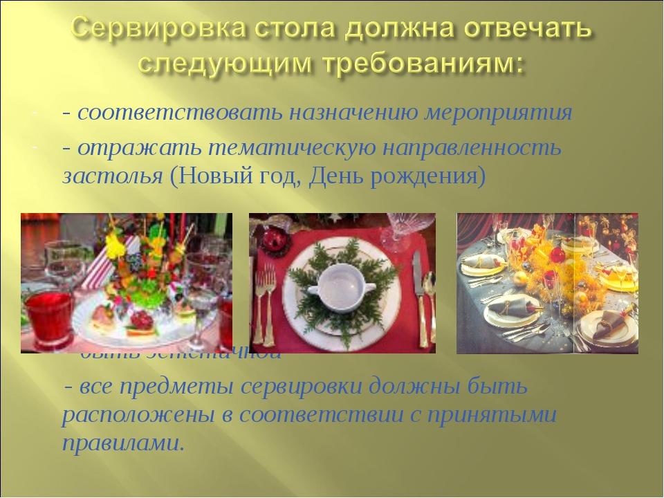 - соответствовать назначению мероприятия - отражать тематическую направленнос...