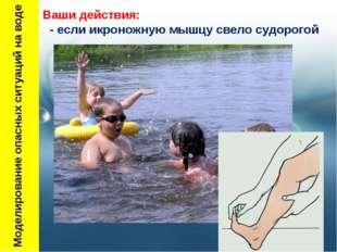 Моделирование опасных ситуаций на воде Ваши действия: - если икроножную мышц