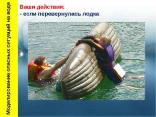 Моделирование опасных ситуаций на воде Ваши действия: - если перевернулась л