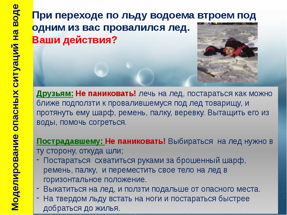 Моделирование опасных ситуаций на воде Друзьям: Не паниковать! лечь на лед,...