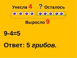 Унесла 4 Выросло 9 9-4=5 Ответ: 5 грибов. ? Осталось