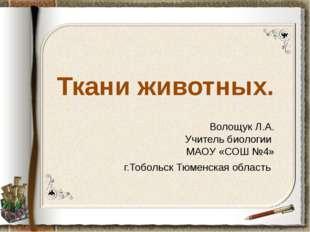 Ткани животных. Волощук Л.А. Учитель биологии МАОУ «СОШ №4» г.Тобольск Тюменс