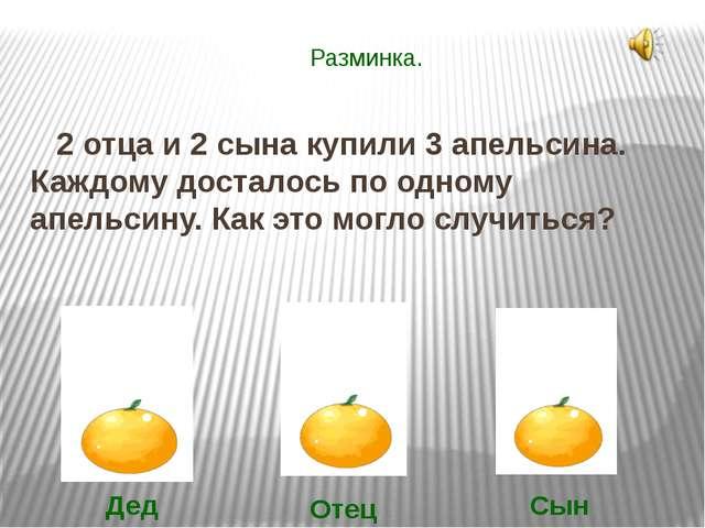 Разминка. 2 отца и 2 сына купили 3 апельсина. Каждому досталось по одному апе...