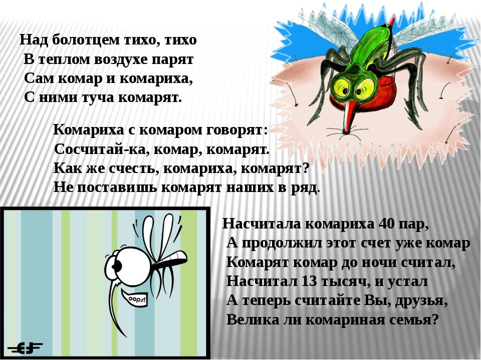 Комариха с комаром говорят: Сосчитай-ка, комар, комарят. Как же счесть, кома...