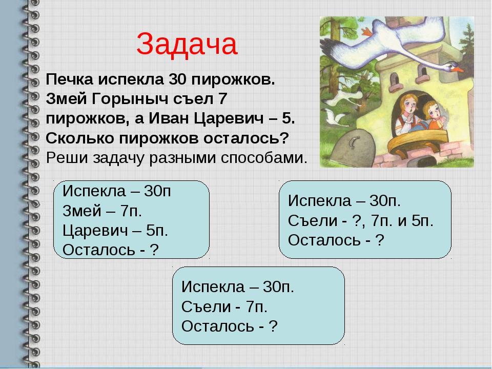 Печка испекла 30 пирожков. Змей Горыныч съел 7 пирожков, а Иван Царевич – 5....