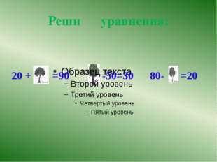 Самопроверка 20 +х =90 х -50=30 80-х =20 Х=90-20 х=50+30 х= 80-20 Х=70 х=80 х