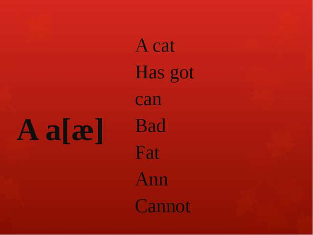 A cat Has got can Bad Fat Ann Cannot A a[æ]