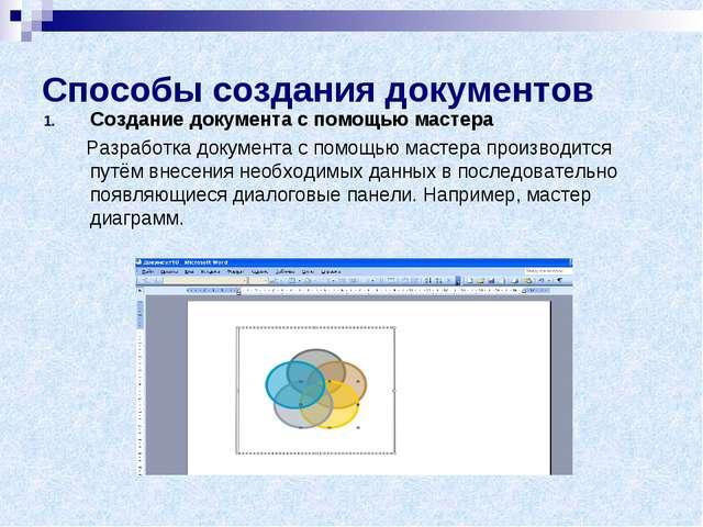 Способы создания документов Создание документа с помощью мастера Разработка д...