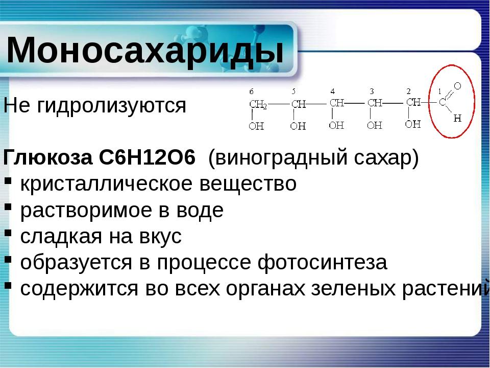 Моносахариды Не гидролизуются Глюкоза C6H12O6 (виноградный сахар) кристаллич...