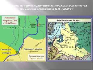 1) Каковы причины появления запорожского казачества по мнению историков и Н.В