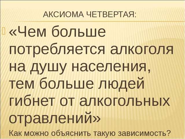 АКСИОМА ЧЕТВЕРТАЯ: «Чем больше потребляется алкоголя на душу населения, тем...