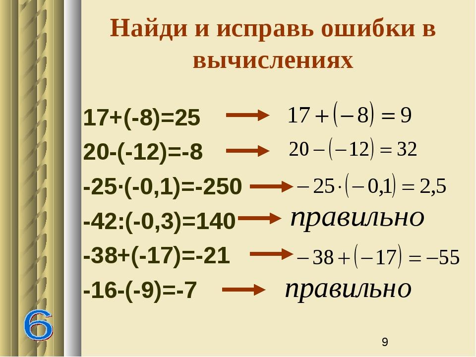 Найди и исправь ошибки в вычислениях 17+(-8)=25 20-(-12)=-8 -25∙(-0,1)=-250 -...