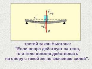 """третий закон Ньютона: """"Если опора действует на тело, то и тело должно действо"""