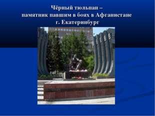 Чёрный тюльпан – памятник павшим в боях в Афганистане г. Екатеринбург