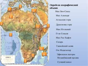 Определи географический объект Мыс Бен-Секка Мыс Альмади Атласские горы Драко
