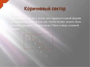 Коричневый сектор 6. Как разрезать на 2 части лист прямоугольной формы со сто