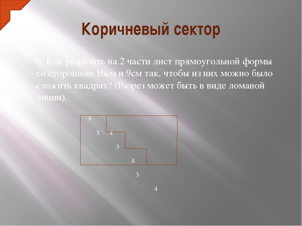 Коричневый сектор 6. Как разрезать на 2 части лист прямоугольной формы со сто...