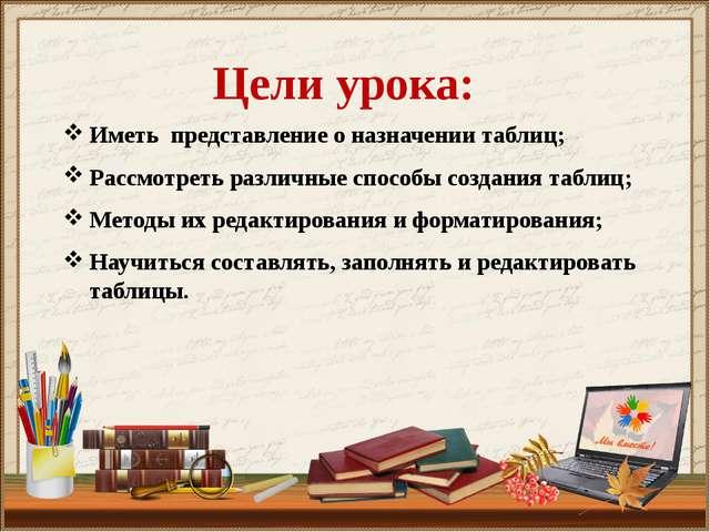 Цели урока: Иметь представление о назначении таблиц; Рассмотреть различные сп...
