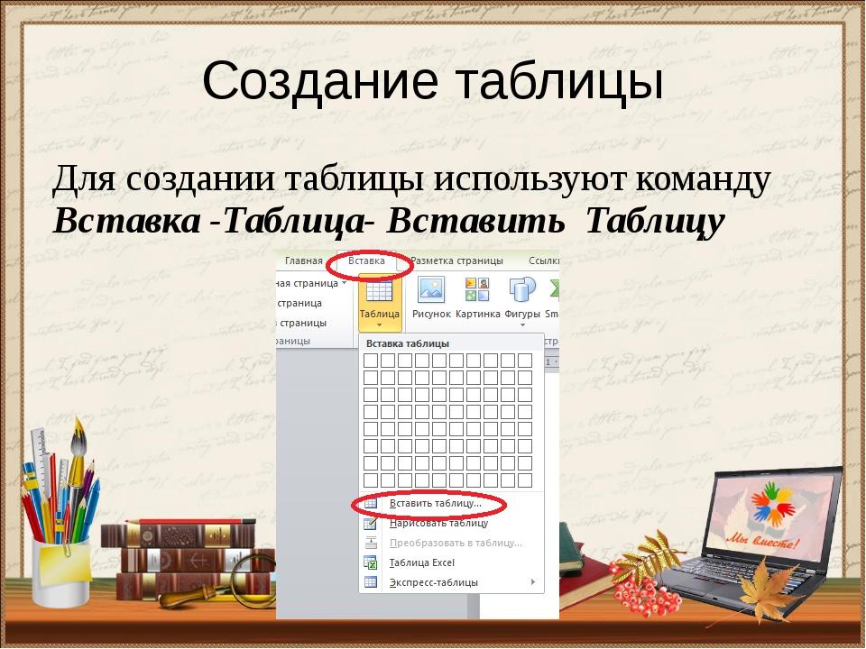 Создание таблицы Для создании таблицы используют команду Вставка -Таблица- Вс...