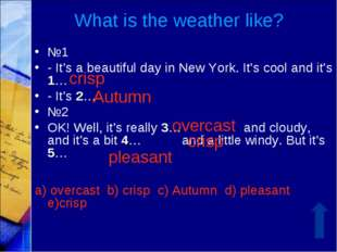 What is the weather like? №1 - It's a beautiful day in New York. It's cool an