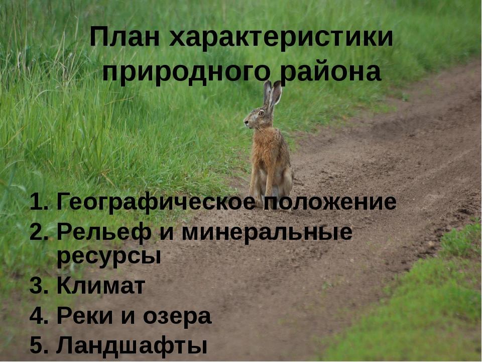 План характеристики природного района Географическое положение Рельеф и минер...