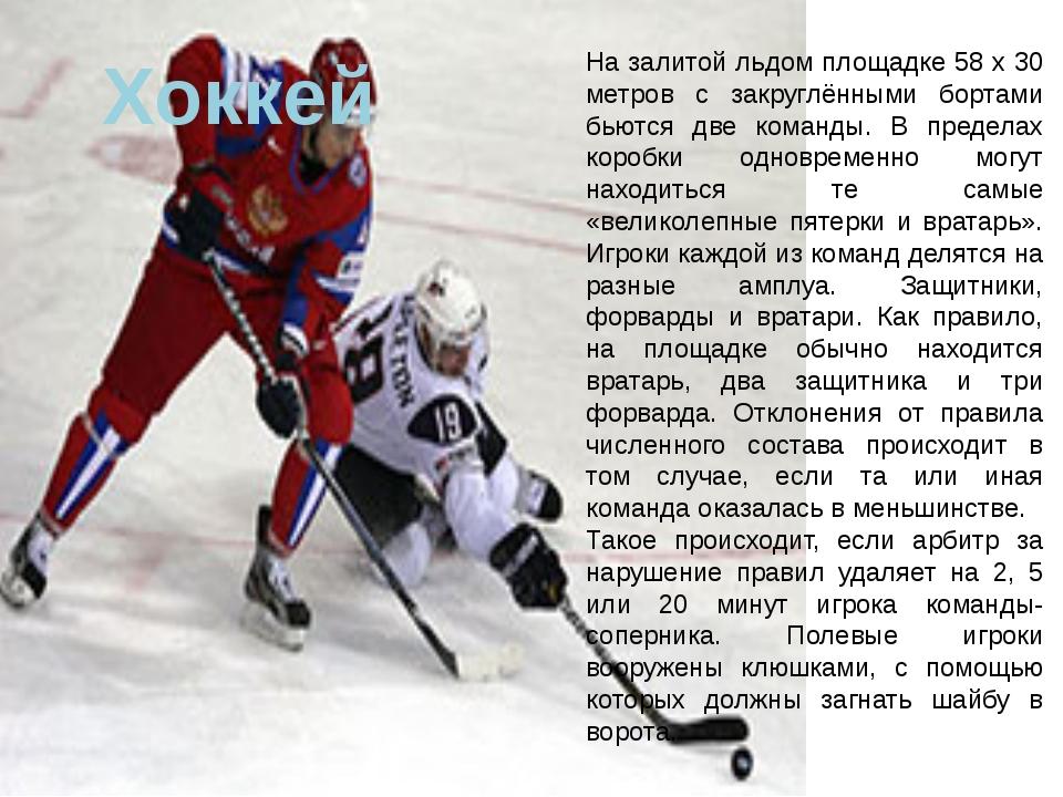 Хоккей На залитой льдом площадке 58 x 30 метров с закруглёнными бортами бьютс...