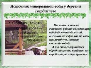 Источник минеральной воды у деревни Твердислево Местные жители считают родник