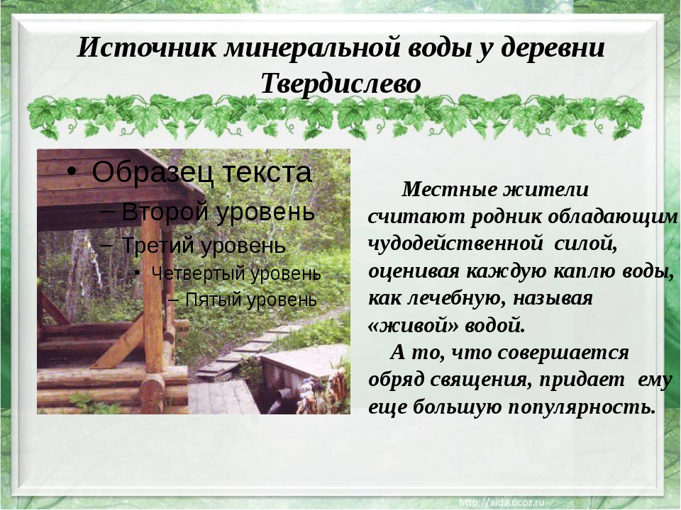 Источник минеральной воды у деревни Твердислево Местные жители считают родник...